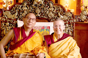 Kundeling Lama (Lobsang Yeshi) and Dechen Losang Chöma (Carola Däumichen) sharing a throne in Päsewin / Brandenburg / Germany