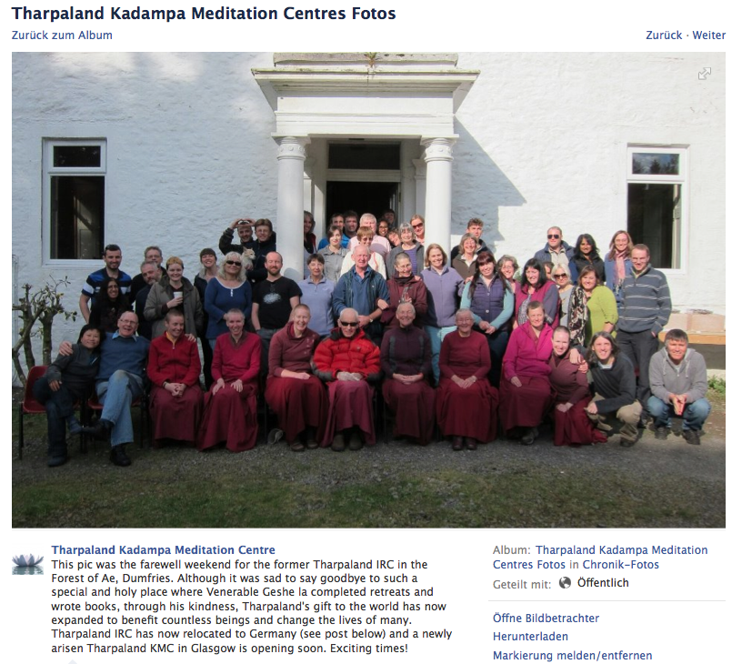 The 'farewell photo' from the facebook page of Tharpaland Kadampa Meditation Centre shows only 1 monk and 8 nuns … where are the other monks? All together there are about 48 persons on the image. The centre is rather small.