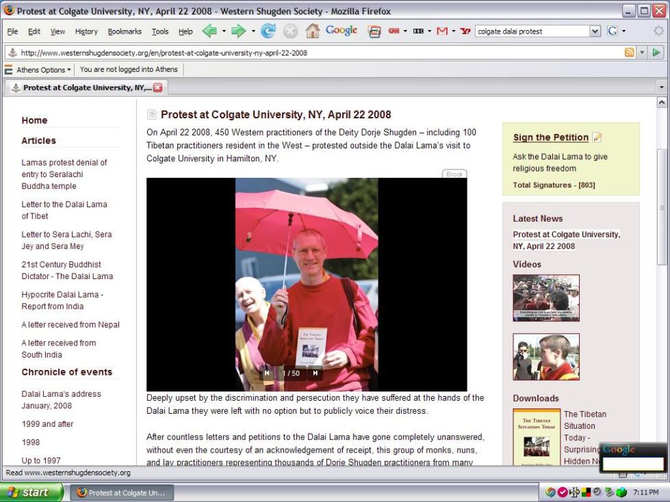 Gen-la Kelsang Khyenrab at Colgate University (USA), New York, April 22, 2008.