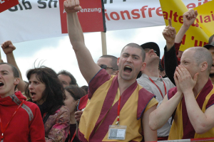 Kelsang Rabten at Anti Dalai Lama protests