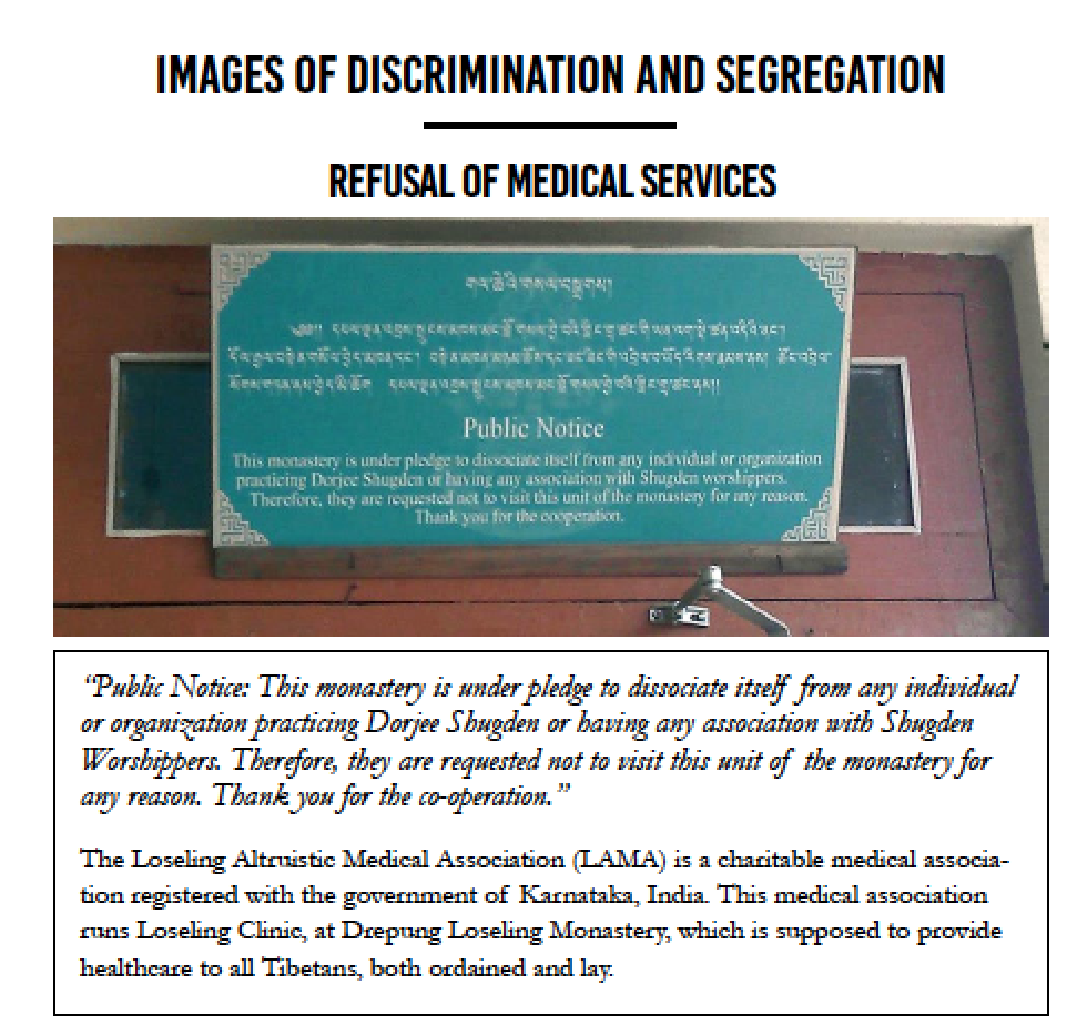 This image caption from the new ISC leaflet is totally misleading. The ban from entry into the monastery has not relation to the claim that health treatment is refused for Shugden proprietors.