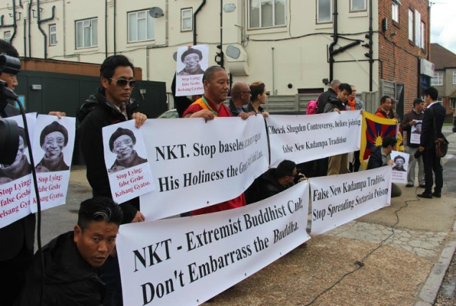 Tibet supporters and Tibetans stage protest in front of the NKT