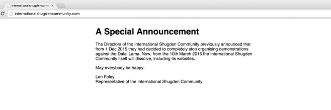 ISC announcement as found on 12 March 2016. www.internationalshugdencommunity.com