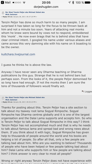 Excerpt of a slanderous discussion on dojeshugden.com