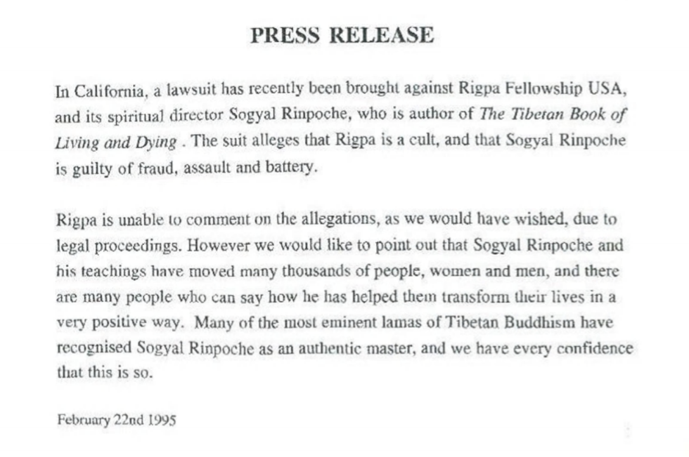 Rigpa Press Release Sogyal 1995